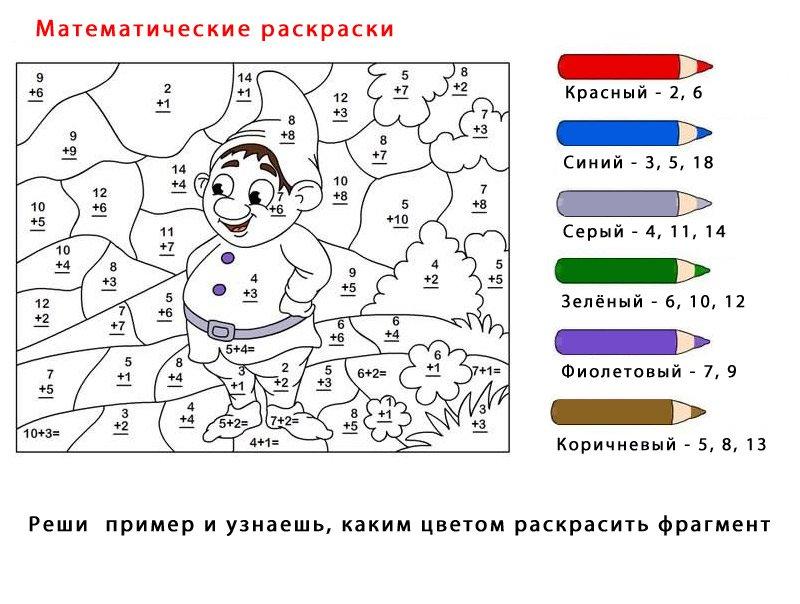 Раскраски задание для математики