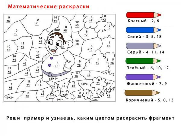 Математические раскраски. Сосчитай и раскрась