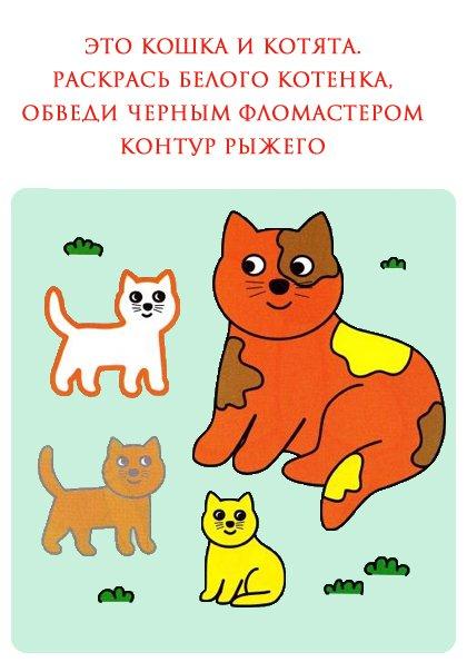 Раскраски для детей 2-3 лет. Котята