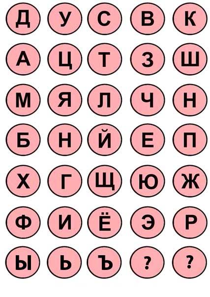 Фишки с буквами