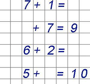 Примеры на сложение в пределах 10