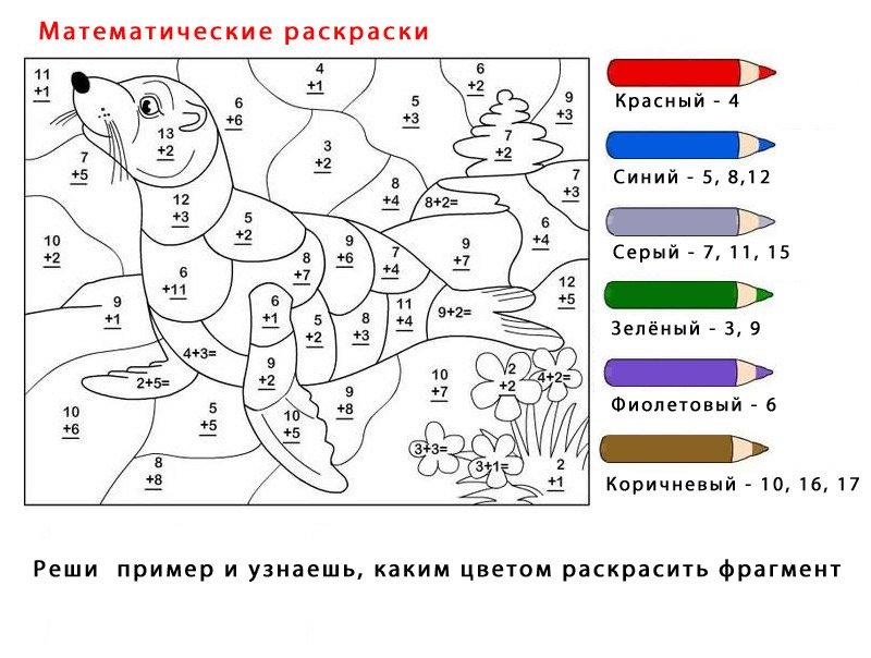 математические раскраски сосчитай и раскрась от 2 до 6