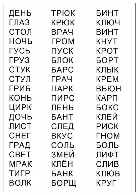 Слова из 4 букв