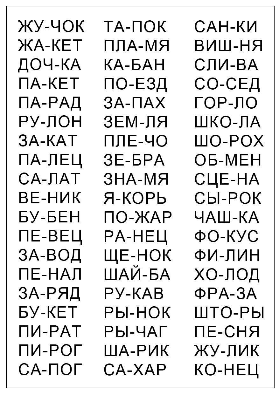 тексты для чтения 1 класс по слогам скачать